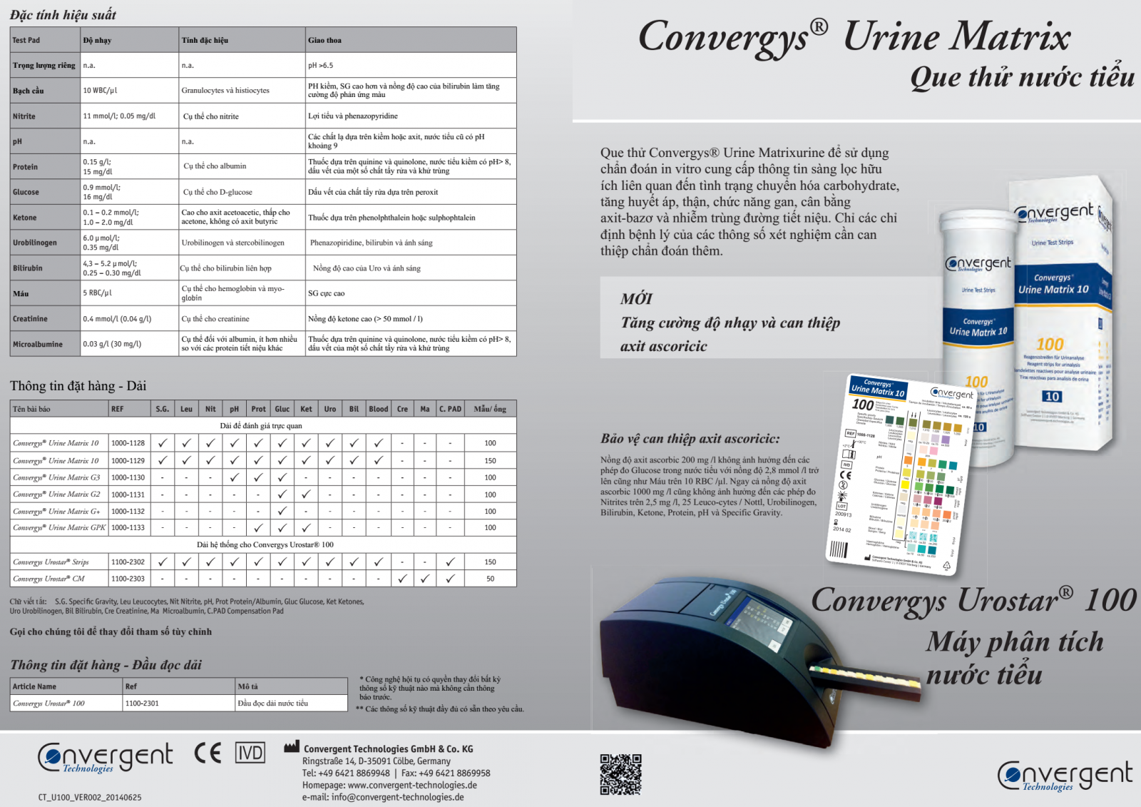 Máy nước tiểu Convergys® Urostar 100