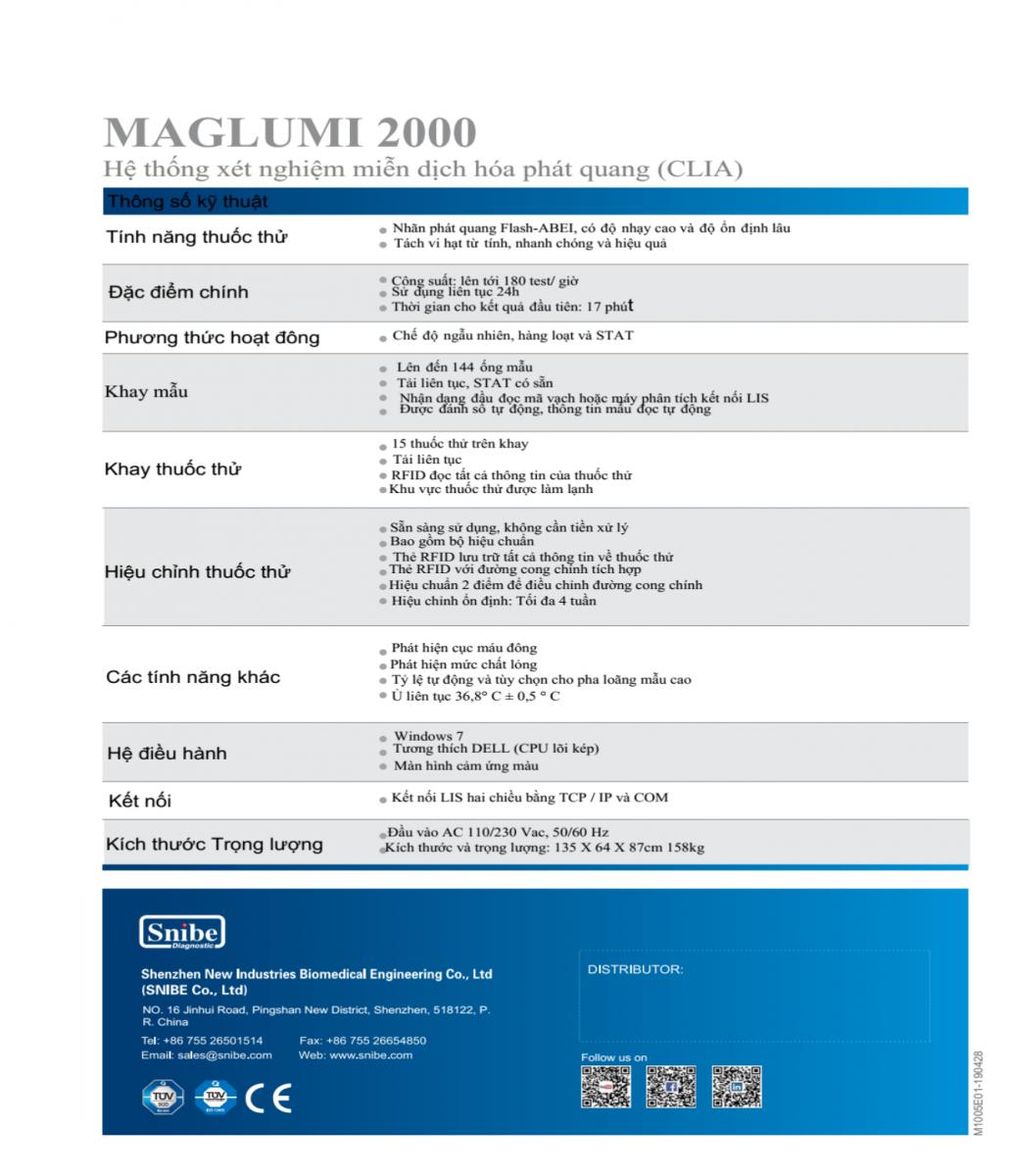 Máy miễn dịch tự động Maglumi 2000