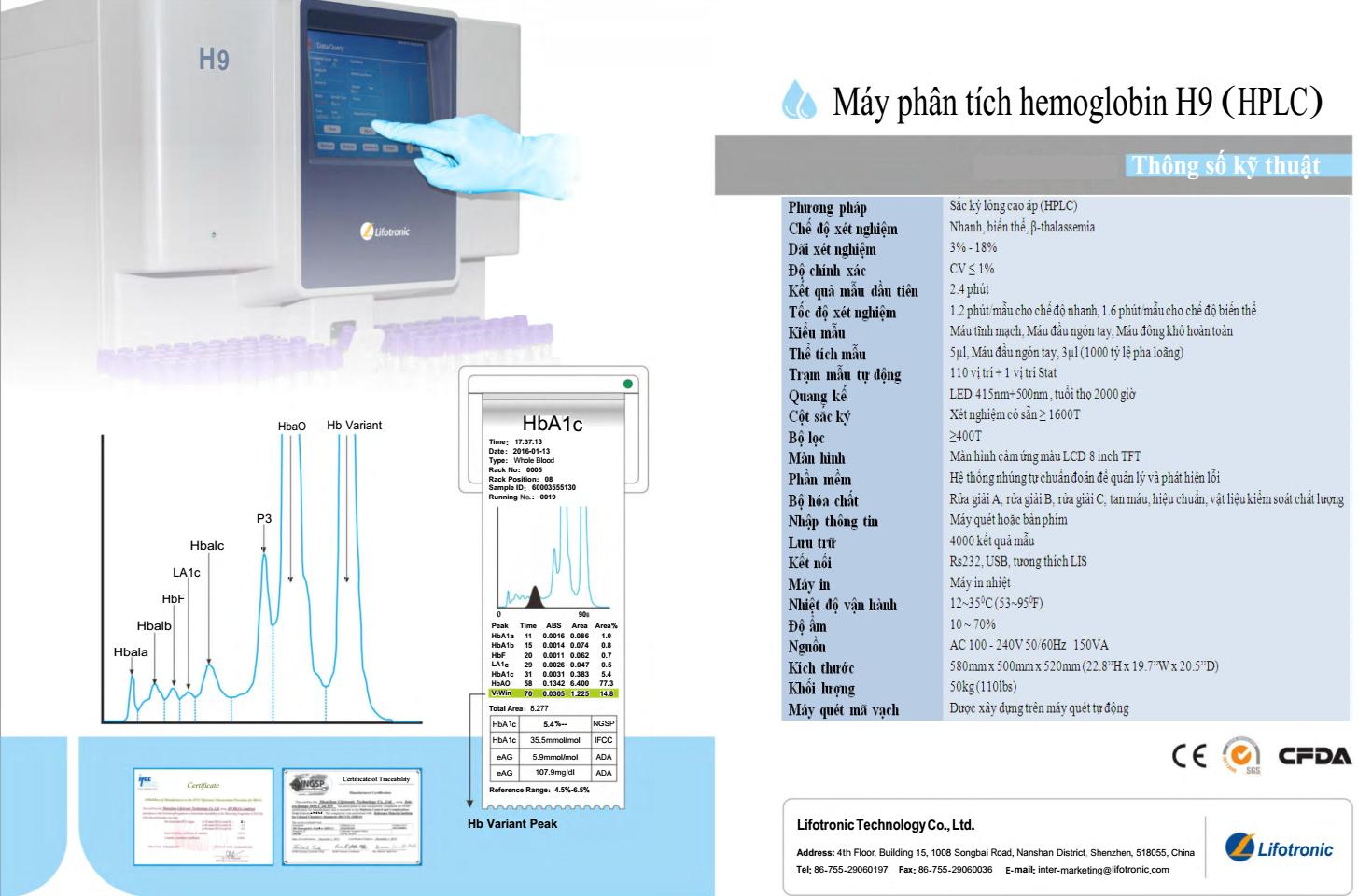 Máy phân tích HbA1C (HPLC)H9